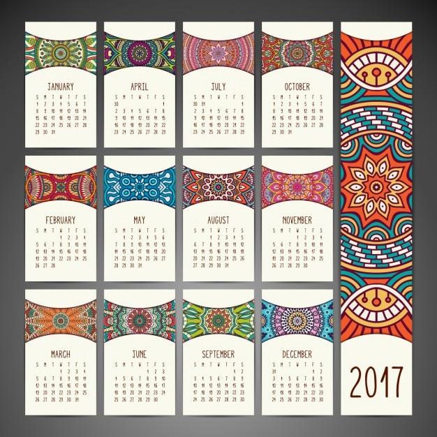 Design de boho calendário do estilo Vetor grátis