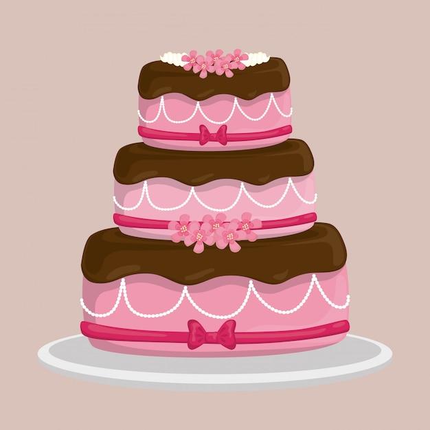Design de bolo de sobremesa. Vetor Premium