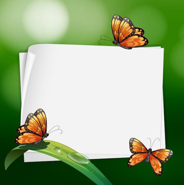 Design de borda com borboletas na folha Vetor grátis
