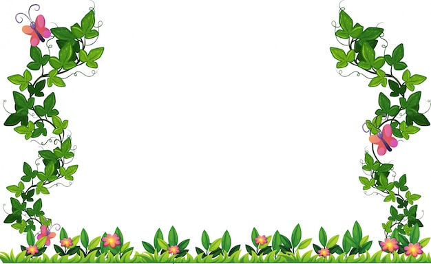Design de borda com videira e borboletas Vetor grátis