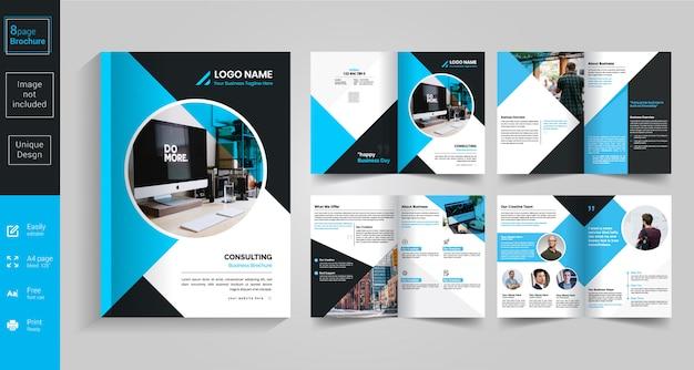 Design de brochura azul de 8 páginas Vetor Premium