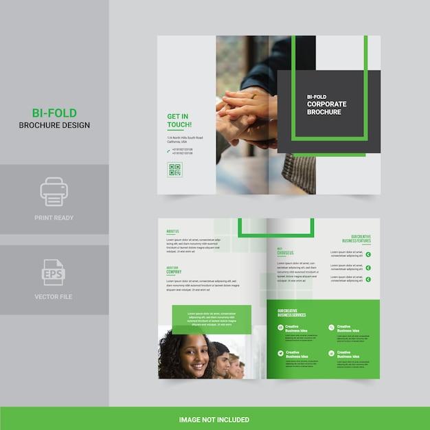 Design de brochura bi-fold criativo Vetor Premium