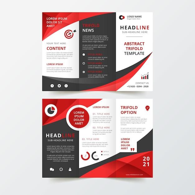 Design de brochura com três dobras abstrata Vetor Premium