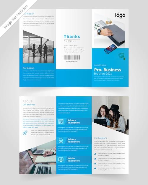 Design de brochura com três dobras corporativo Vetor Premium