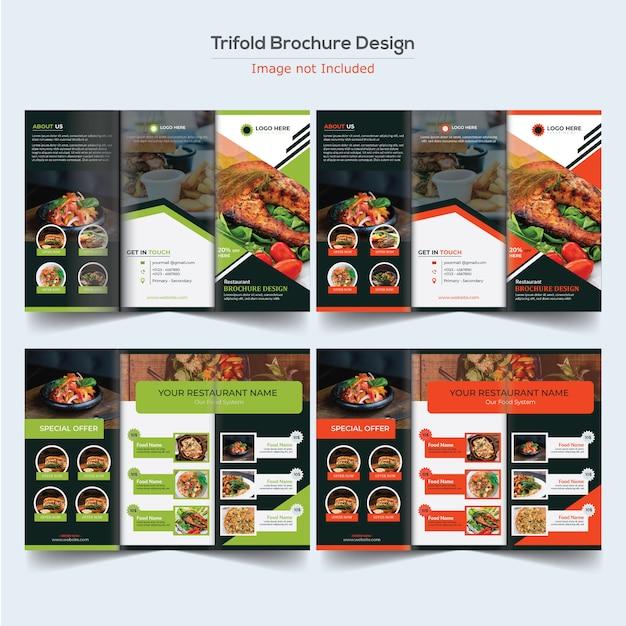 Design de brochura com três dobras de alimentos Vetor Premium