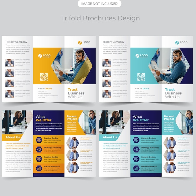 Design de brochura com três dobras de negócios Vetor Premium