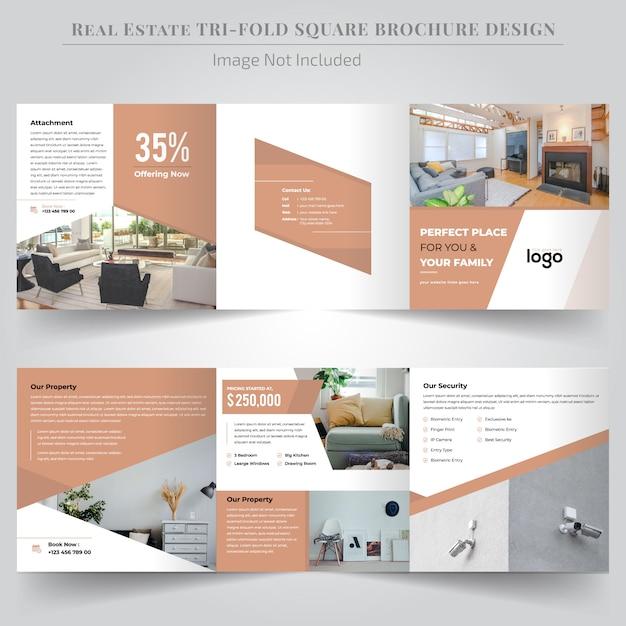 Design de brochura com três dobras quadrado imobiliário Vetor Premium