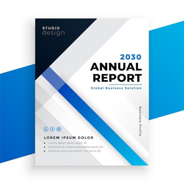 Design de brochura comercial de relatório anual azul elegante Vetor grátis
