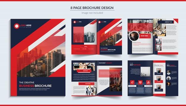 Design de brochura de 8 páginas Vetor Premium