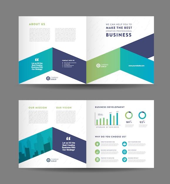 Design de brochura de negócios corporativos com duas dobras e modelo de design de panfleto de marketing da empresa Vetor Premium