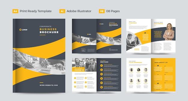 Design de brochura de negócios corporativos ou relatório anual e design de perfil da empresa ou design de livreto e catálogo Vetor Premium