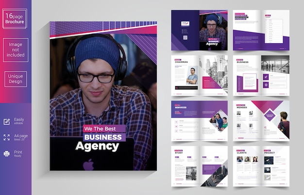Design de brochura de negócios de 16 páginas Vetor Premium
