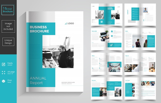 Design de brochura de negócios de páginas mínimas Vetor Premium