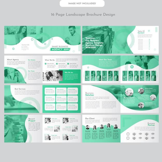 Design de brochura de negócios de paisagem Vetor Premium