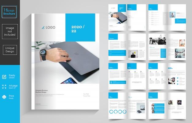 Design de brochura de negócios mínimo azul Vetor Premium