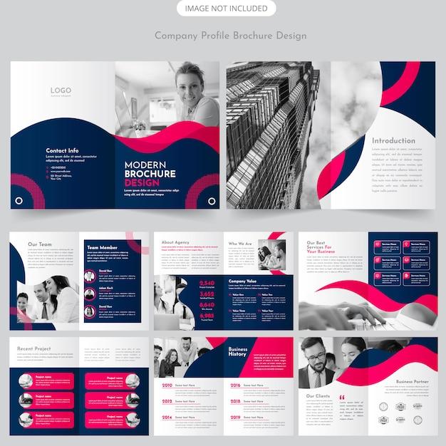 Design de brochura de perfil de empresa Vetor Premium