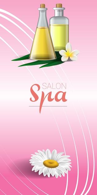 Design de brochura de spa com camomila, flor tropical branca e óleo de massagem Vetor grátis