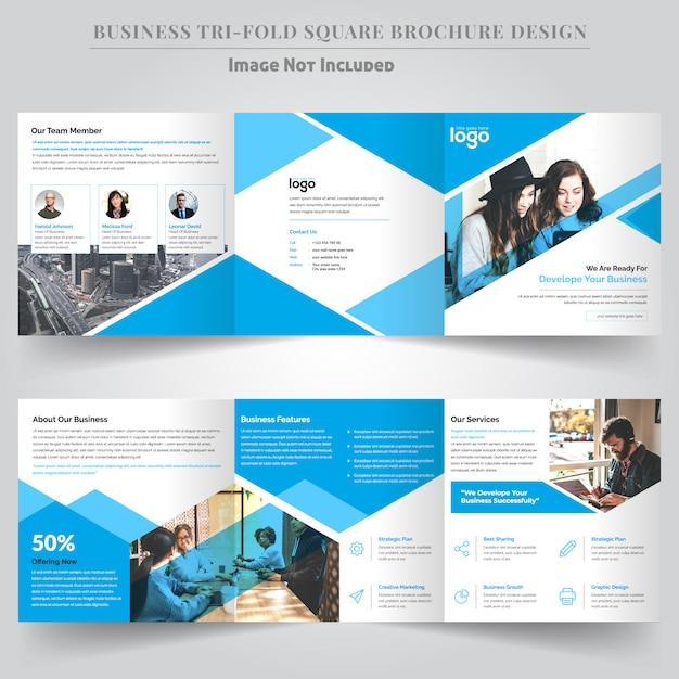 Design de brochura dobrável quadrado corporativo para negócios Vetor Premium