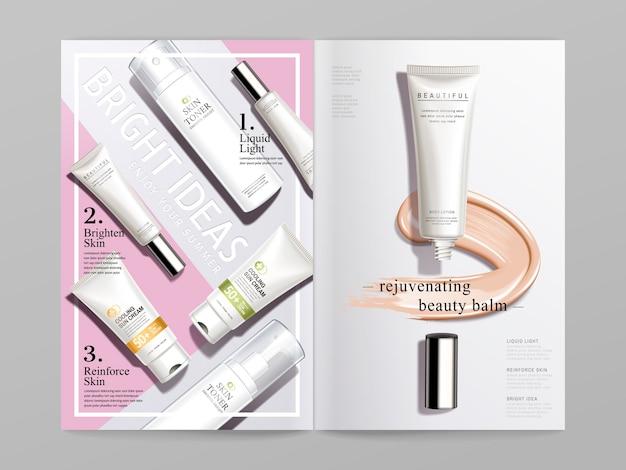 Design de brochura dupla com tema cosmético em branco e rosa Vetor Premium