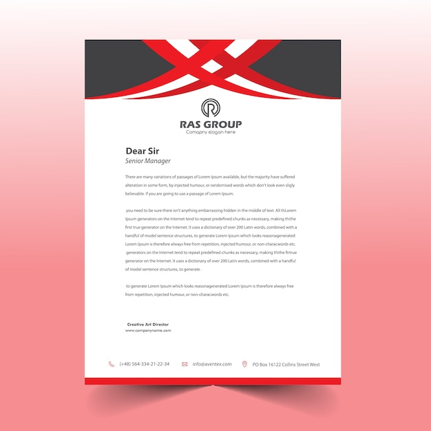 Design de cabeça de carta vermelho & preto Vetor Premium