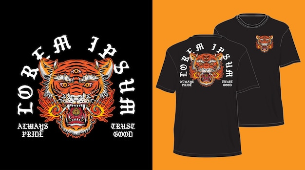 Design de cabeça de tigre balinesa para camiseta preta Vetor Premium