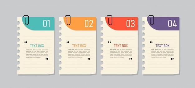 Design de caixa de texto com papéis de nota. Vetor Premium
