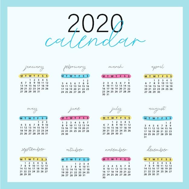 Design de calendário 2020 pronto para impressão Vetor Premium