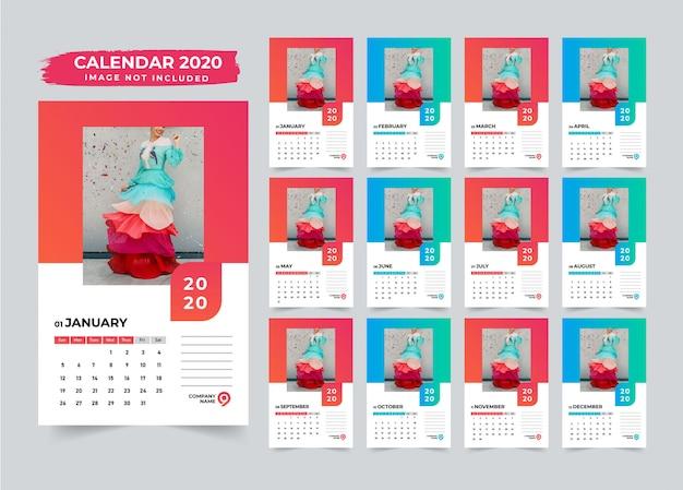 Design de calendário mínimo de parede 2020 Vetor Premium