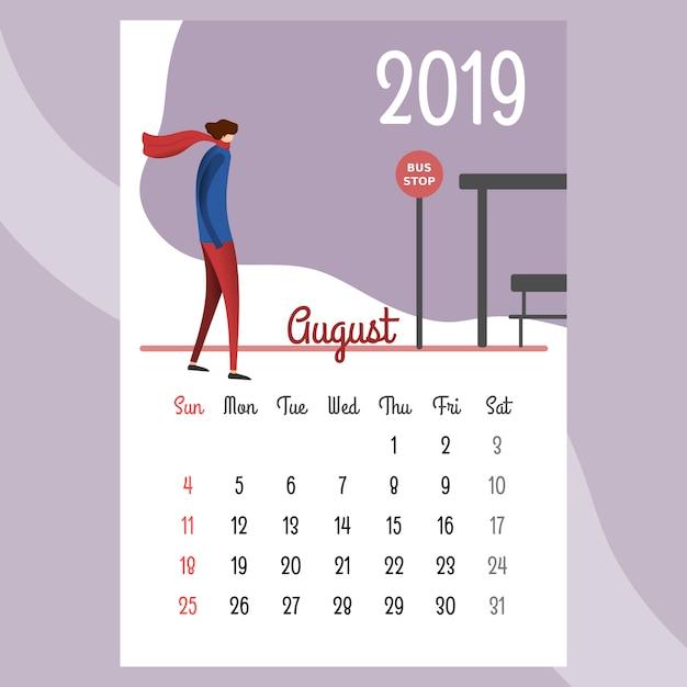 Design de calendário para 2019. calendário bonito para 2019 Vetor Premium