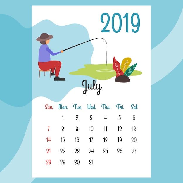 Design de calendário para 2019. design de calendário bonito para 2019 Vetor Premium