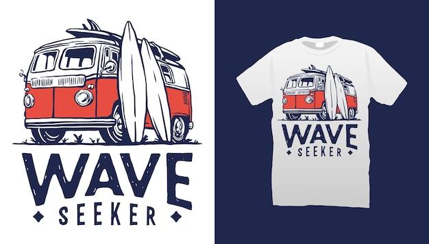 Design de camiseta com ilustração de van de surfe Vetor Premium