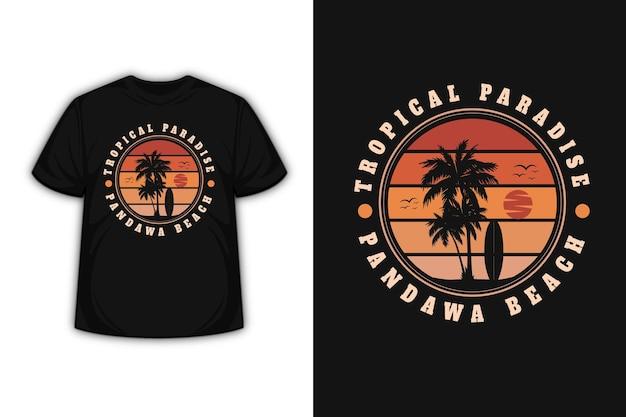 Design de camiseta com praia paradisíaca tropical bali em gradiente laranja Vetor Premium