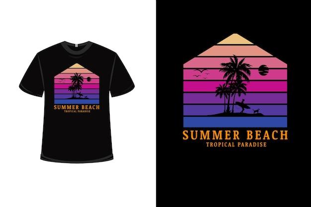 Design de camiseta com verão praia paraíso tropical em rosa e roxo Vetor Premium