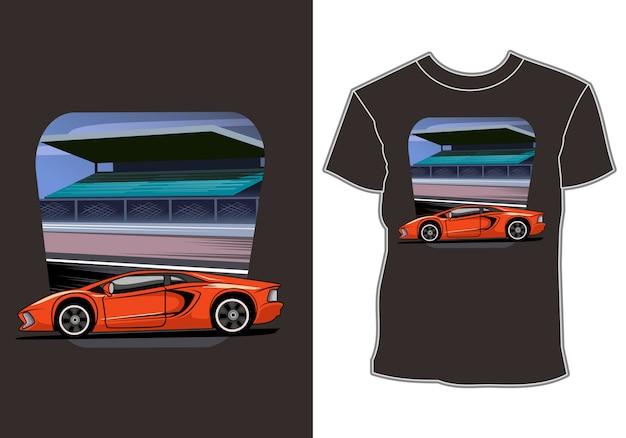 Design de camiseta de carro esporte moderno Vetor Premium