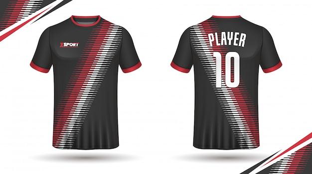 Design de camiseta de esporte de modelo de camisa de futebol Vetor Premium