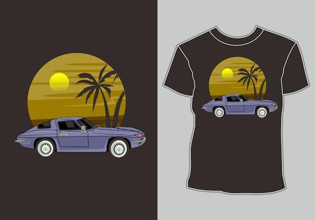 Design de camiseta de verão, carros clássicos, vintage e retrô estão na praia Vetor Premium
