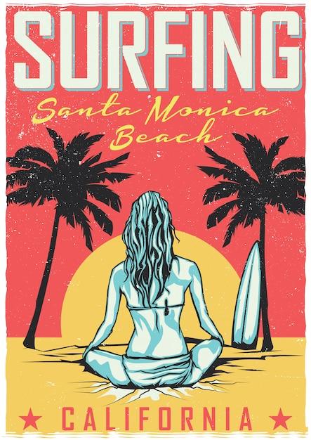 Design de camiseta ou pôster com ilustração de garota com prancha de surf Vetor grátis