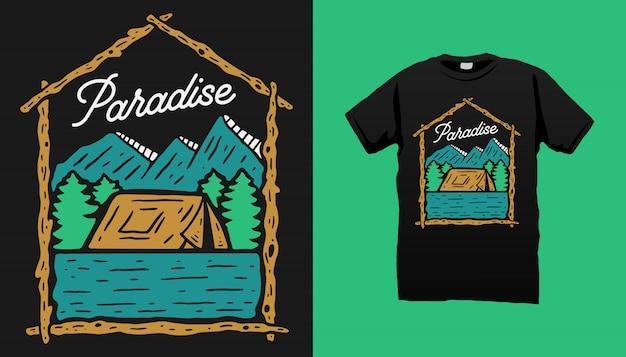Design de camiseta para acampamento na montanha Vetor Premium