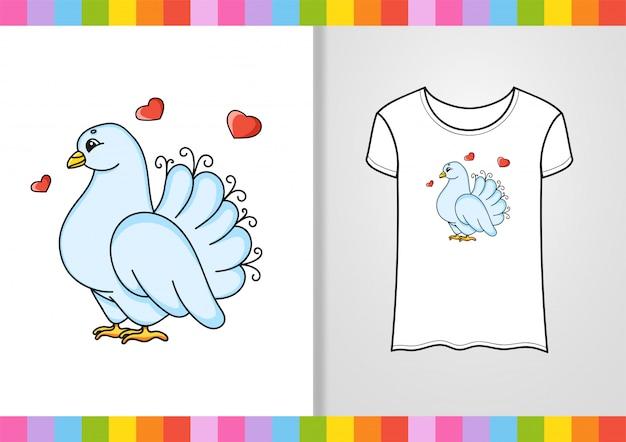 Design de camiseta. personagem bonita na camisa. desenhado à mão. Vetor Premium