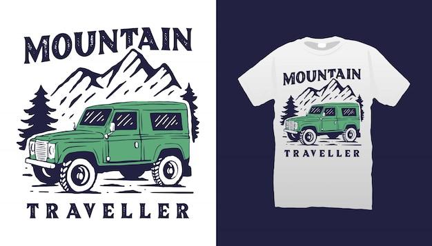 Design de camisetas para carros offroad Vetor Premium