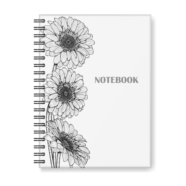 Design de capa de caderno com flores gerbera desenhados à mão Vetor Premium