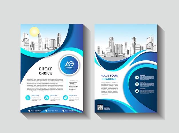 Design de capa de folheto de livro de negócios em a4 Vetor Premium
