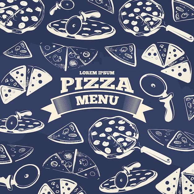 Design de capa de menu de pizza vintage Vetor Premium