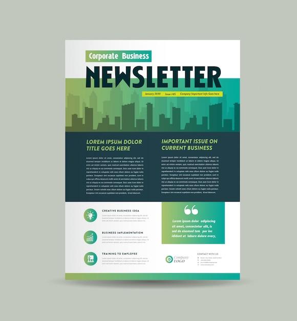 Design de capa de newsletter comercial | design de diário | design de relatório mensal ou anual Vetor Premium
