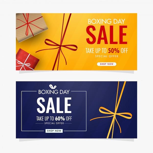 Design de cartão bandeira ou presente amarelo e azul com caixas de presente e oferta de desconto diferente para a venda do dia de boxe. Vetor Premium