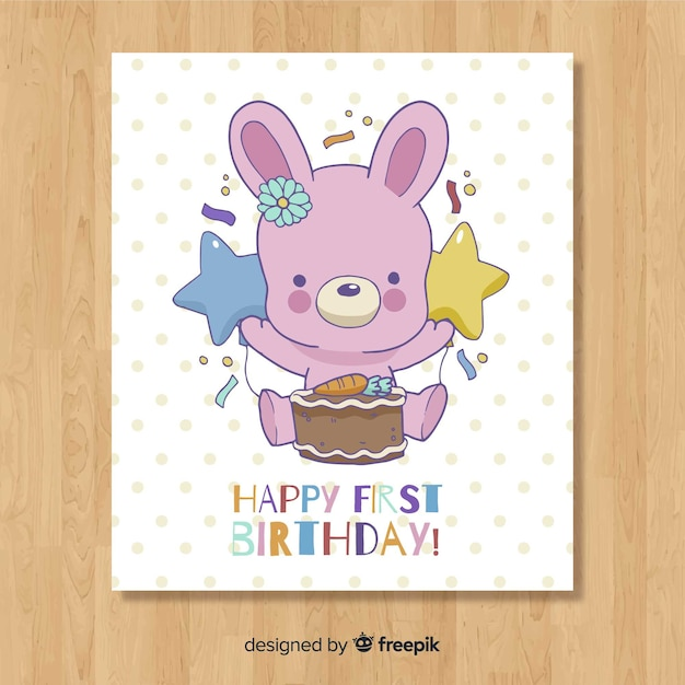 Design de cartão bonito primeiro aniversário Vetor grátis