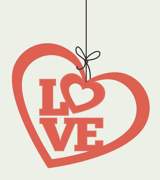 Design de cartão colorido romântico com corações rosa Vetor Premium