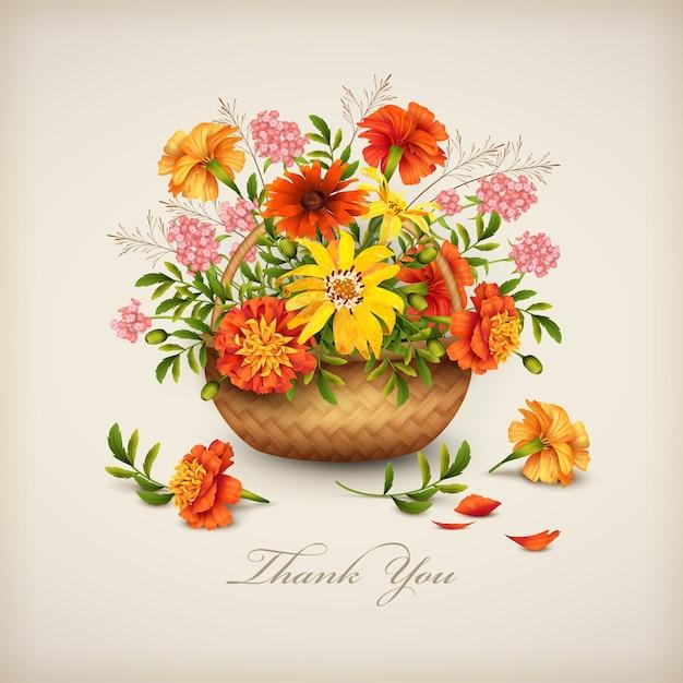 Design de cartão de agradecimento floral Vetor Premium