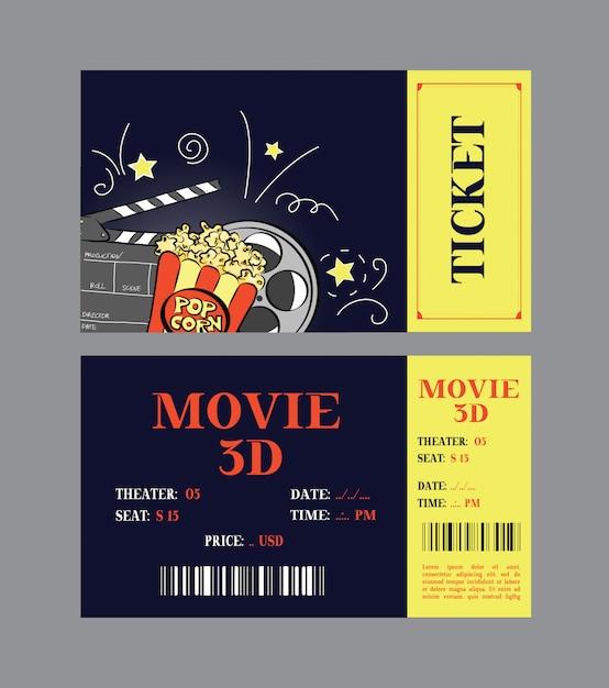 Design de cartão de bilhete de cinema. Vetor Premium