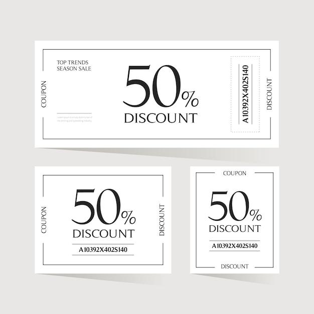 Design de cartão de bilhete de cupom. Vetor Premium